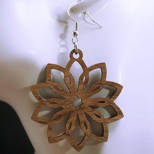 Flowers walnut wood laser cut drop earrings